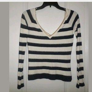M Zara Collection Navy Striped Deep V Sweater